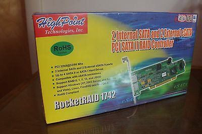 HighPoint RocketRAID 1742 4-Channel PCI SATA3Gb/s Raid Controller FACTORY SEALED
