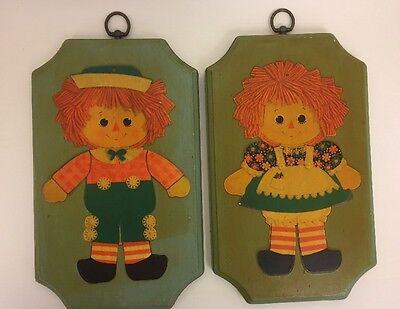 """Vintage Raggedy Ann & Andy Wooden Decoupage Plaques Wall Hangings Set 2 12"""" x 7"""""""