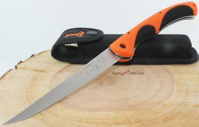 Elk Ridge Hunters Orange Folding Fish Fishing Filet Fillet Camping Hunting Knife