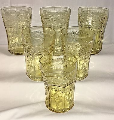"""6 Federal PATRICIAN AMBER * 4 1/4""""- 9 oz WATER TUMBLERS*"""