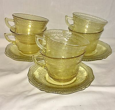 6 Federal PATRICIAN AMBER *CUPS & SAUCERS* SET 2*