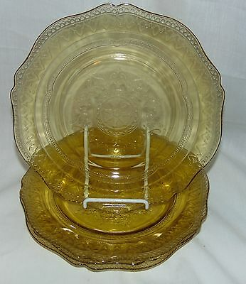"""4 Federal PATRICIAN AMBER *9"""" LUNCHEON PLATES*"""