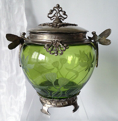 Victorian silverplated & etched green glass biscuit jar with dragonfly handles