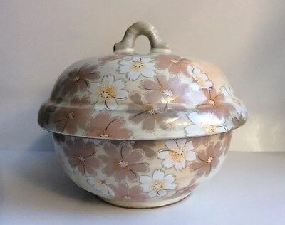 Japanese Vintage Bowl With Lid & Flowers Hand Painted 3 Characters On Bottom