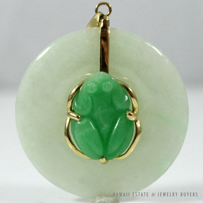 Vintage Green Jade Good Luck Frog & Disc 14K Yellow Gold Pendant