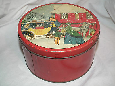 VINTAGE 50s BISCUIT COOKIE CHISTMAS TIN