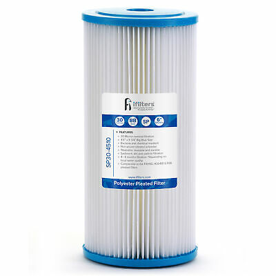 """Sediment Pleated Water Filter City or Well Water, Washable 4.5"""" x 10"""", 30 Micron"""