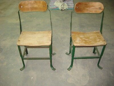 2 Vintage Kids Old School/Church Steel/Wooden Chairs Domore Chair Corp
