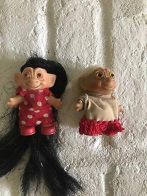 1960's Vintage Troll Doll Trolls Doll Wool Hair Amber Colored Eyes With Clothing