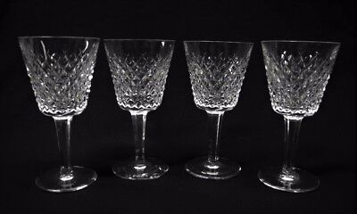 """Set of 4 WATERFORD Fine Crystal ALANA Small Claret Goblets 5 7/8"""""""