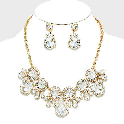 Wedding Pageant Formal Party Gold Clear Crystal Elegant Fashion Necklace Set