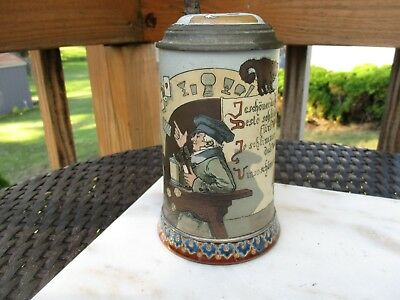 """Antique Mettlach Stein  """"Woman and the Tavern""""  2090  3/10L"""