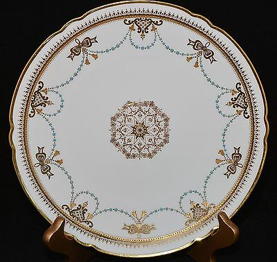 """Rare Copeland Spode 9"""" Luncheon Plate R1011 Turquoise Jeweled Raised Gold"""