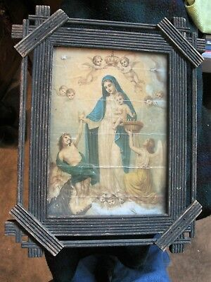 Antique Hand Crafted Wood Nicho With Old Color Print Of Mary Surrounded Byangels
