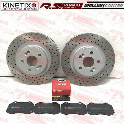 FOR RENAULT CLIO SPORT 197 200 F1 FRONT DRILLED BRAKE DISCS MINTEX PADS 312mm