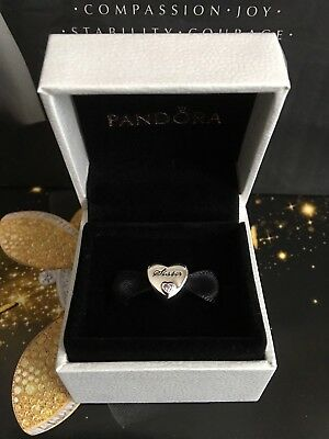 New Genuine Pandora Silver Sister's Love Charm with Pouch 791946PCZ RRP£35
