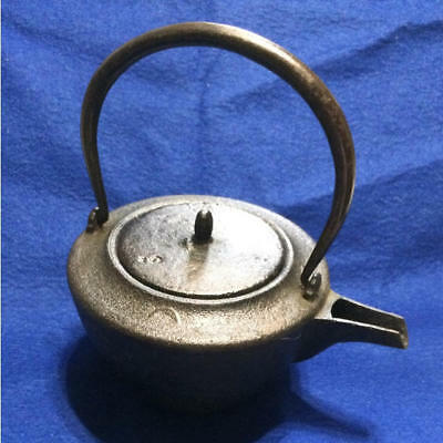 Japanese Antique KANJI old Iron Tea Kettle Tetsubin teapot Chagama 2061