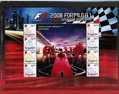Singapore 2008 Formula 1 Souvenir Sheet With Folder  M/S RARE MNH