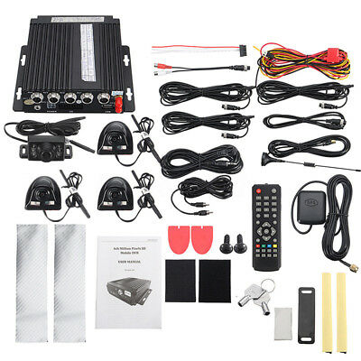 4CH Car DVR SD 3G Wireless GPS Realtime Video Recorder+4 Camera Cable Remote Kit