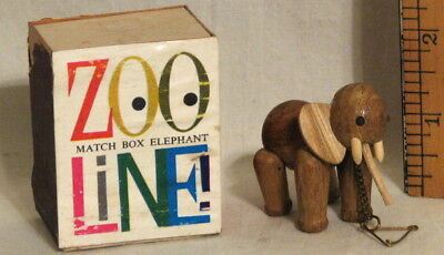 RARE VINTAGE ZOO-LINE MINIATURE CARVED WOOD ELEPHANT in ORIGINAL BOX