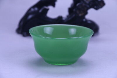 100% natural Exquisite hand carving Emerald green Jade bowl X159
