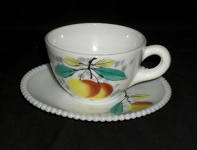 Westmoreland BEADED EDGE FRUITS PEACHES *CUP & SAUCER*BE5/6*