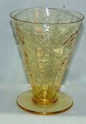 "Federal MADRID AMBER *4"" - 5 ounce FOOTED TUMBLER*"