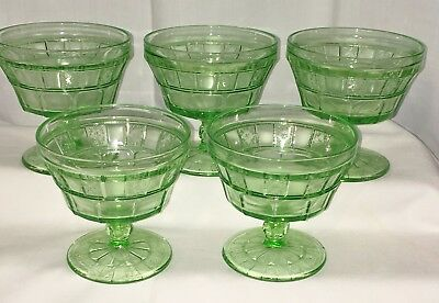 "5 Jeannette DORIC GREEN *3 1/2"" FOOTED SHERBETS*"