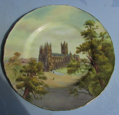 Stunning Vintage Royal Worcester Cabinet Plate Canterbury Cathedral