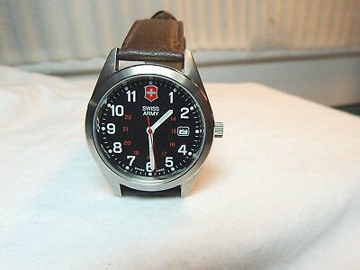 **Victorinox** Men's Swiss Army Wrist Watch. Brown Leather Band Needs BATTERY