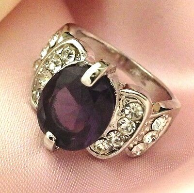 Vintage Cocktail Ring Purple Amethyst Crystal Accent Retro Costume Size 7