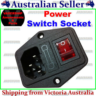 New: Power Socket with Switch - 10A, 240v Arcade / Mame / Pinball -CE Approved