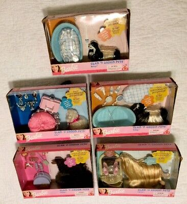 Lot of 5 Glam 'n Groom Pets Dogs & Cat for Barbie Lacey Lily Betsy New in Boxes