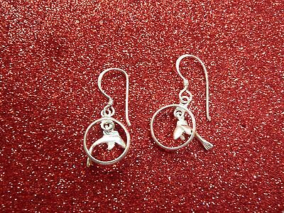 Sterling Silver Dolphin Dangle Earrings
