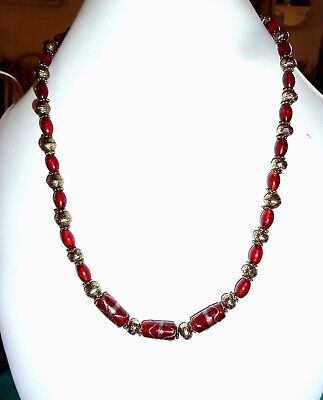 Vintage Red Glass Beaded Necklace