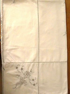 Vintage embroidered table white cloth wedding party high tea dining cotton linen