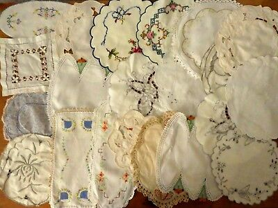 Lot Vintage antique doilies doily crochet handmade 21 pces embroidered crafts