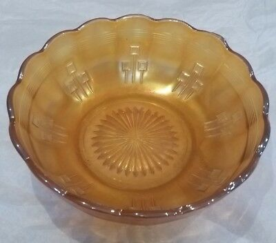 Crown Crystal Australian Pin-Ups Bowl Marigold Carnival Glass