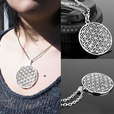 Mode Flower Of Life Pendant Necklace Silver Chain Sacred Geometry Jewelry Neu