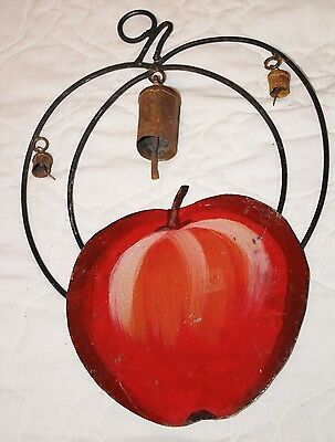 Vintage Primitive Hand Painted Metal Art Red Apple and Hanging Bells Wall Decor