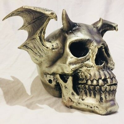 Skull Hood Ornament Flying Devil Scary Demon Wings Hot Rod Rat Rod