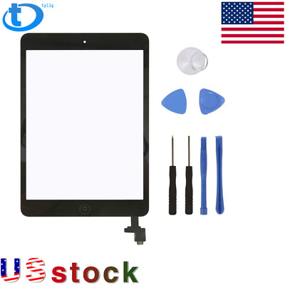 For iPad Mini 1 2 Touch Screen Glass Digitizer Replacement+ IC+Home Button FREE
