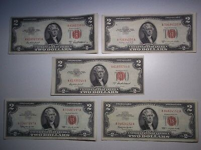 1953 1963 $2 United States Note Red Seal (lot of 5) circulated notes-shown