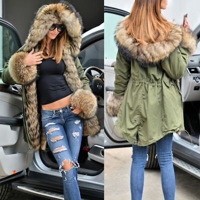 Faux Fur Hooded Lining Thicken Warm Winter Womens Coat Parka Jacket Hoodie US