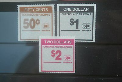 QLD Railway Parcel Stamps 3 x No Station Name, Expo