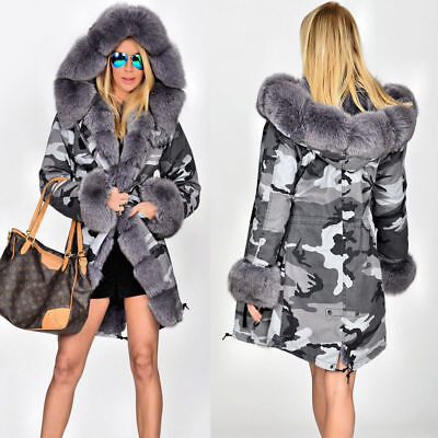 US Women's Winter Faux Fur Coat Military Jacket Thick Warm Parka With Fur Lining
