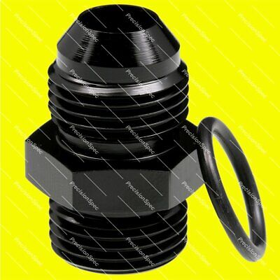 AN8 Male Flare to AN8 O-ring Boss Straight Aluminium Fitting Adapter - Black