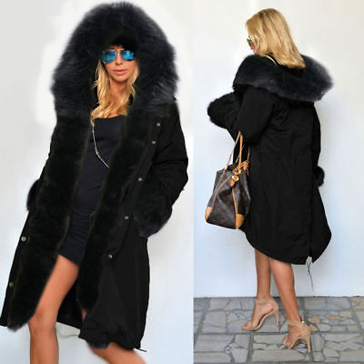 US Women Ladies Winter Coat Hooded Long Parka Casual Jacket Thicken Lining with