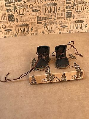 Blythe Doll Boots - Handmade Dark Brown Coloured Real Leather With Shoebox