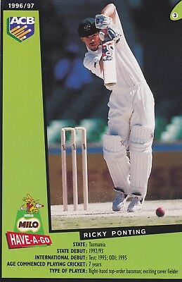 1996/97  ACB MILO Cricket Card:  RICKY  PONTING  #3 (145mm x 95mm)   .....  EXC